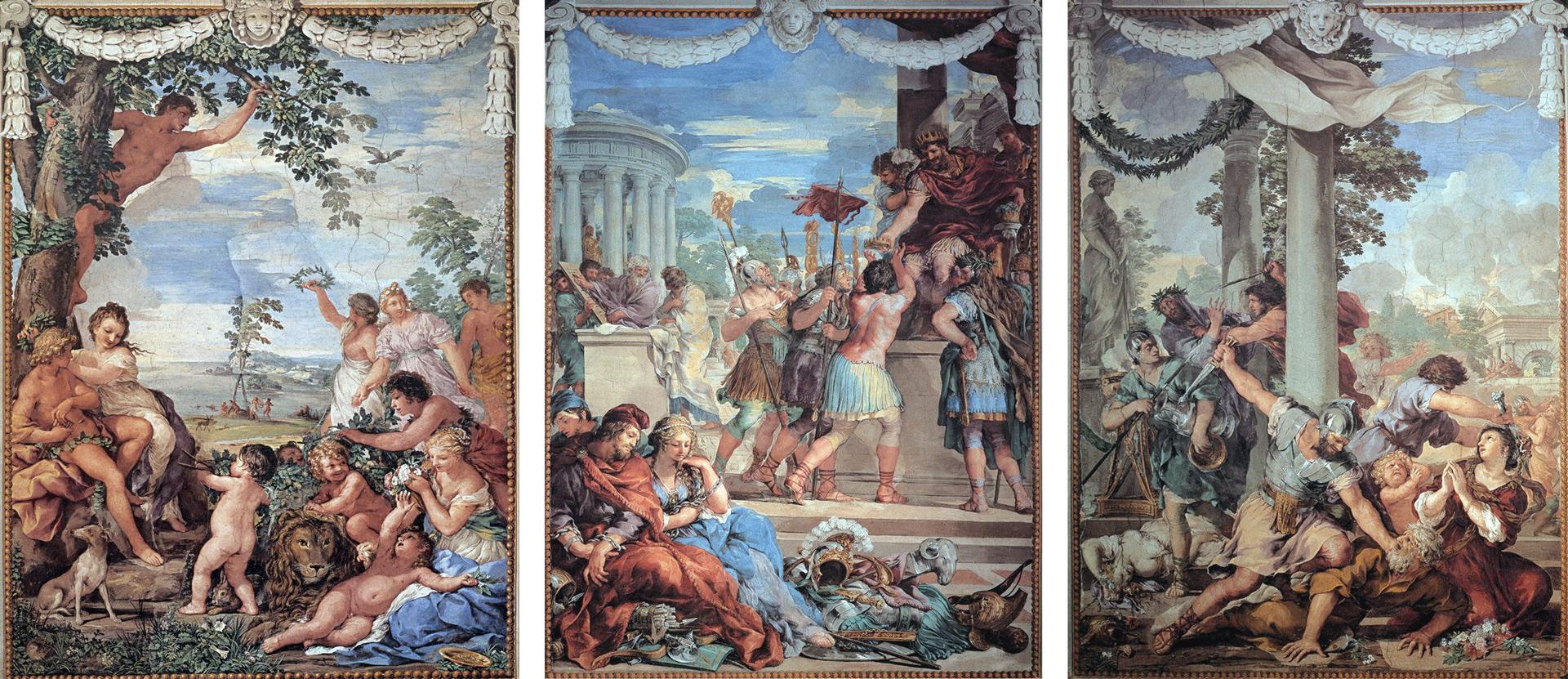 Das Goldene Zeitalter, Das Bronzene Zeitalter, Das Eiserne Zeitalter. Bilderzyklus zu Ovids Metamorphosen von Pietro da Cortona (1637)