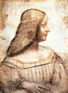 Isabella d'Este bestürmte Leonardo da Vinci über mehrere Jahre, der Zeichnung noch ein Porträt in Farbe folgen zu lassen. Ob es dazu kam, ist umstritten: 2015 wurde in der Schweiz ein Porträt der Kunstförderin von Mantua beschlagnahmt, das womöglich von Leondaro stammt.