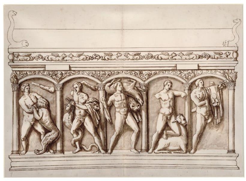 Cassiano Dal Pozzo schuf mit seinem »Papiermuseum« eine altertumswissenschaftliche Sammlung: Über vierzig Jahre beschäftigte er Zeichner, die griechische, römische und frühchristliche Relikte dokumentierten. Im Bild: Zeichnung eines römischen Sarkophagenreliefs.