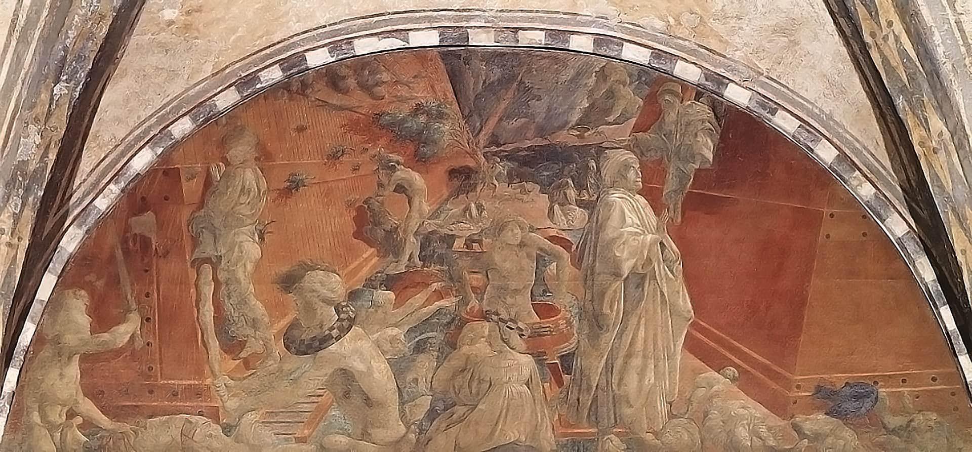 Cosimo Medici als Retter, wohl Noah, mit segnender Hand. Fresko (1446–1448) von Paolo Uccello im Kreuzgang von Santa Maria Novella in Florenz.