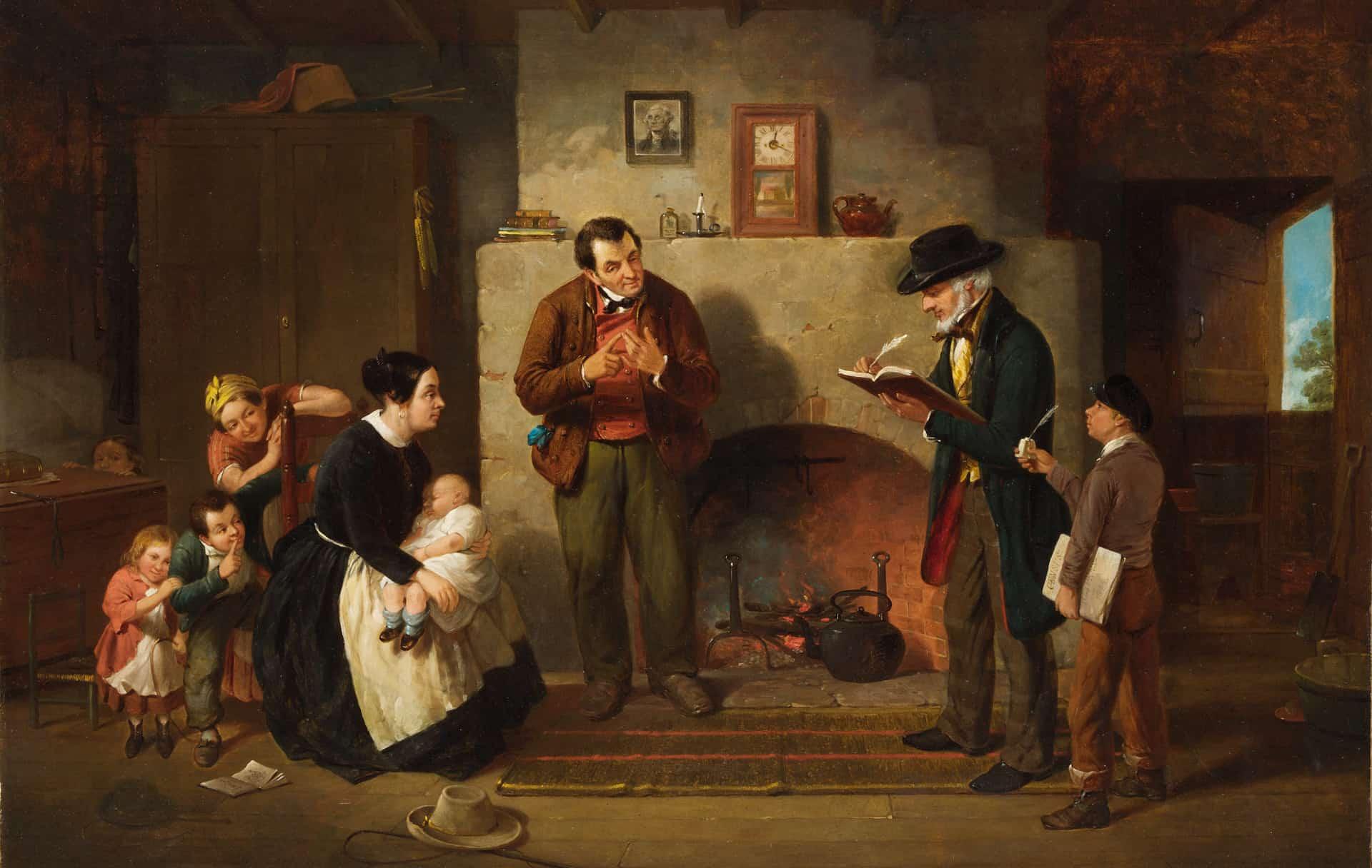 Auch die Vereinigten Staaten zählten ab 1790 ihre Bürger*innen. Bei der siebten Volkszählung hatte das Familienoberhaupt auch Auskunft über seine Nachfahren zu geben (Bild: Edmonds, Francis William. 1854. Taking the Census. Metropolitan Museum of Art).