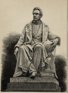 Adolphe Quetelet (1796-1874). Radierung nach der Statue von Charles Fraikin. Das Standbild steht heute vor der Königlichen Akademie der französischen Sprache und Literatur, Brüssel.