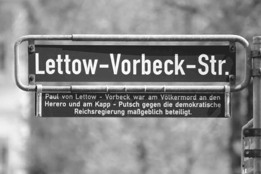 Postkoloniale Initiativen setzen sich für die Umbenennung oder Kenntlichmachung von Straßennamen ein. Im Bild: Lettow-Vorbeck-Str. in Bünde (Foto: Daniel Salmon)