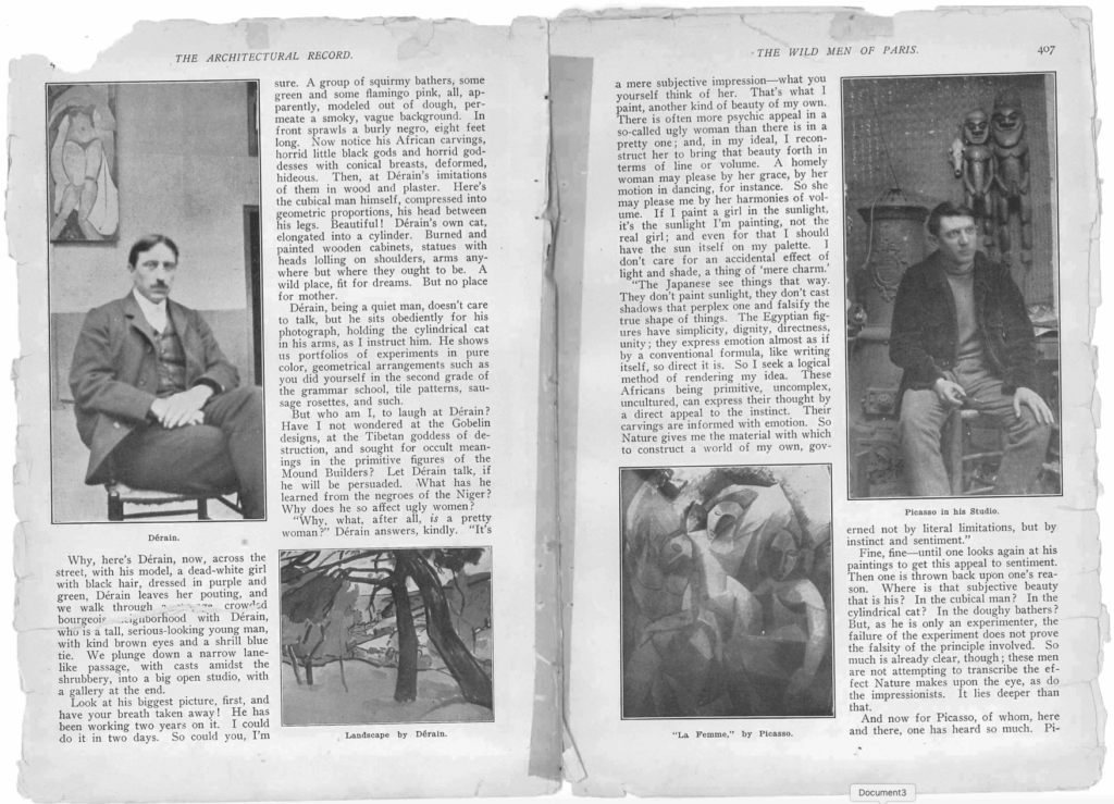 """Im Bild rechts: Picasso in seinem Atelier, im Hintergrund afrikanische Masken. Die Seite stammt aus der Reportage Burgess. Gelett. 1910. """"The Wild Men of Paris"""", <em>Architectural Record</em>."""