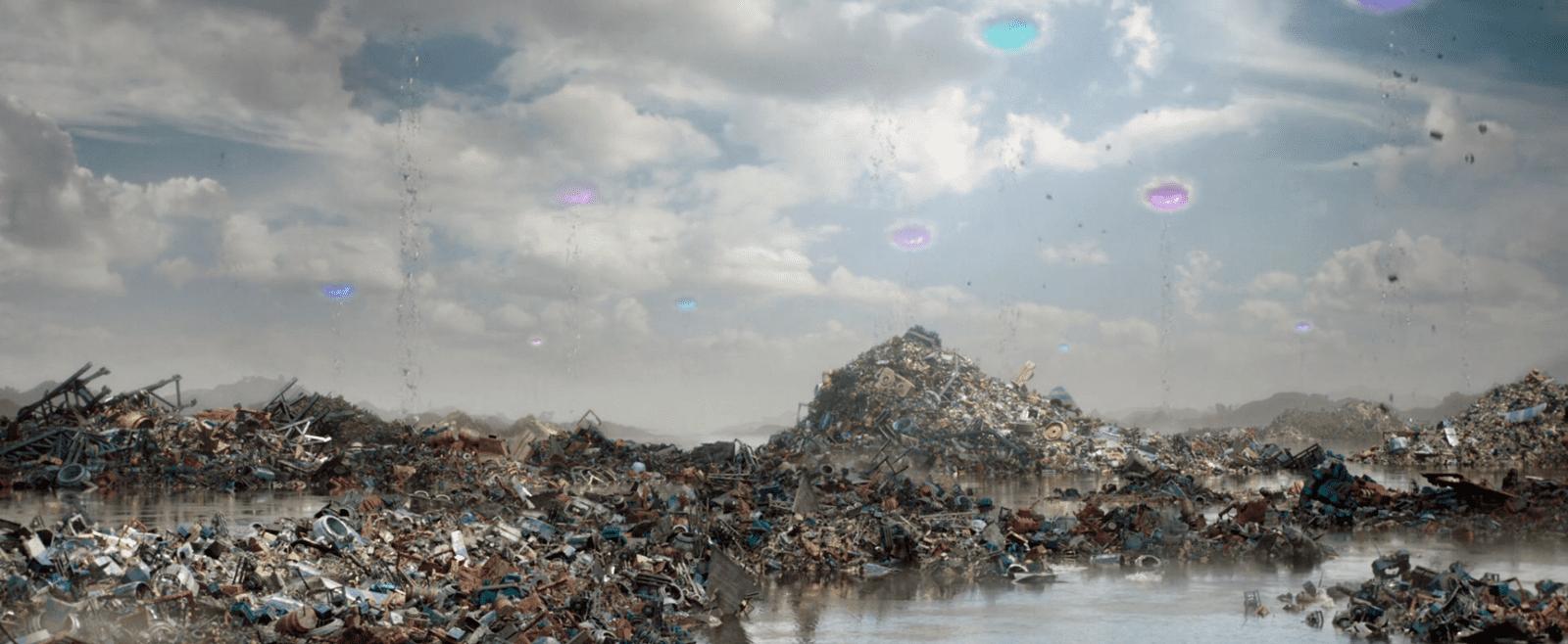 Sakaar, der Müllplanet des Marvel-Universums. Filmstill aus Thor: Ragnarok (Waititi 2017)