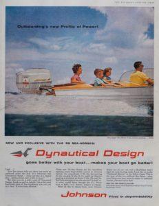 Johnson Aussenbordmotor. Printwerbung aus den 1950er-Jahren.